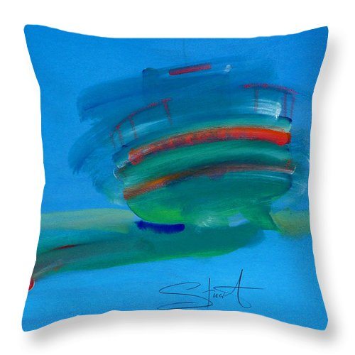 Fishing Boat Throw Pillow featuring the painting Fishing Boat Hastings by Charles Stuart