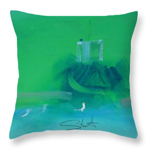 Fishing Boat Throw Pillow featuring the painting Fishing Boat With Seagulls by Charles Stuart