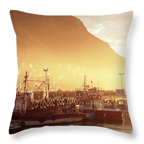 Dawn Throw Pillow featuring the photograph Fishing Boats At Dawn Kalk Bay South Africa by Neil Overy