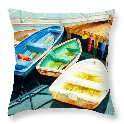 Fishing Throw Pillow featuring the painting Fishing Boats by Karen Fleschler