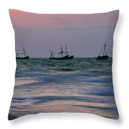 Fishing Boats Throw Pillow featuring the photograph Fishing Boats by Michael Mogensen