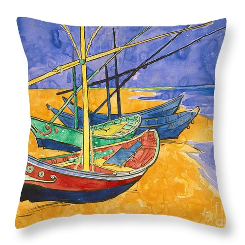 Fishing Throw Pillow featuring the painting Fishing Boats On The Beach At Saintes Maries De La Mer by Vincent Van Gogh