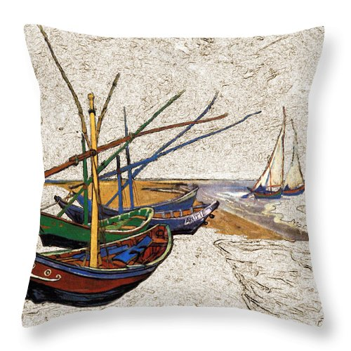 Fishing Throw Pillow featuring the digital art Fishing Boats Van Gogh Digital Art by Karla Beatty