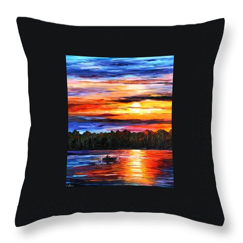 Seascape Throw Pillow featuring the painting Fishing By The Sunset by Leonid Afremov