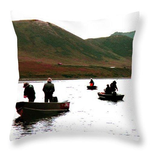 Fishing Throw Pillow featuring the photograph Fishing For Salmon - Karluck River - Kodiak Island Alaska by Merton Allen