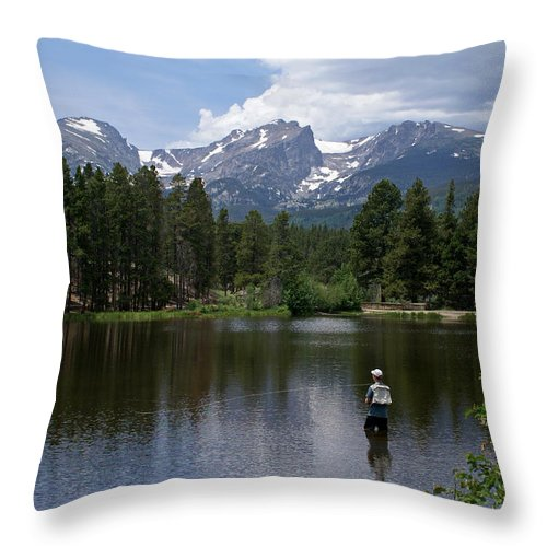 Fishing Throw Pillow featuring the photograph Fishing In Colorado by Heather Coen