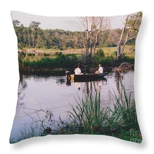 Water Throw Pillow featuring the photograph Fishing In The Bayou by Michelle Powell