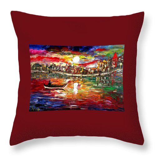 Art Throw Pillow featuring the painting Fishing In The Moonlight by Luiza Vizoli