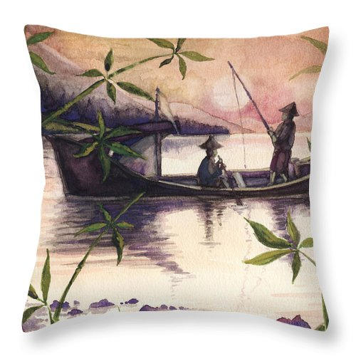 Fishing Throw Pillow featuring the painting Fishing In The Sunset  by Alban Dizdari