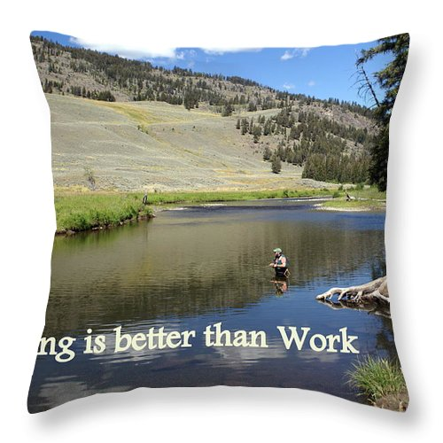 Photo Greeting Card Throw Pillow featuring the greeting card Fishing Is Better Than Work by Marty Koch