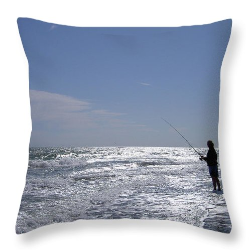 Fishing Throw Pillow featuring the photograph Surf Fishing by John Wijsman