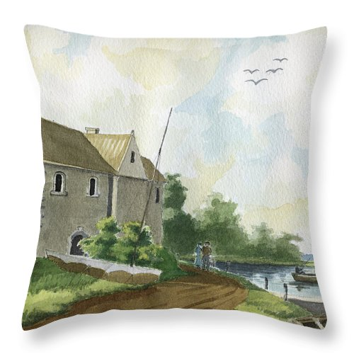 Lake Throw Pillow featuring the painting Fishing Lake by Alban Dizdari