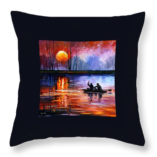 Seascape Throw Pillow featuring the painting Fishing On The Lake by Leonid Afremov