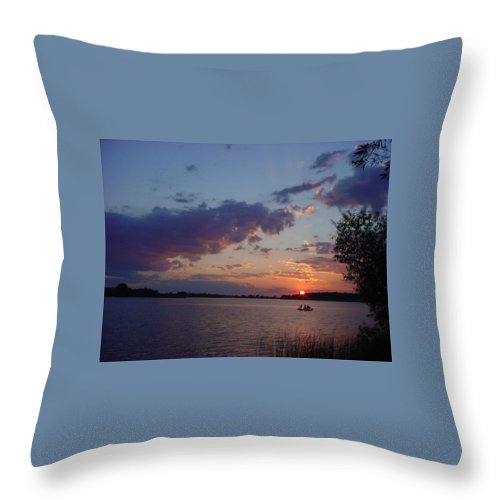 St.lawrence River Throw Pillow featuring the photograph Fishing On The St.lawrence River. by Jerrold Carton