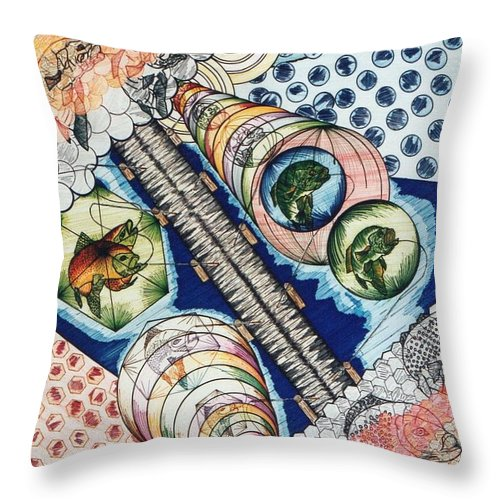Fish Throw Pillow featuring the mixed media Fishing Over The Object by Robert Robbins