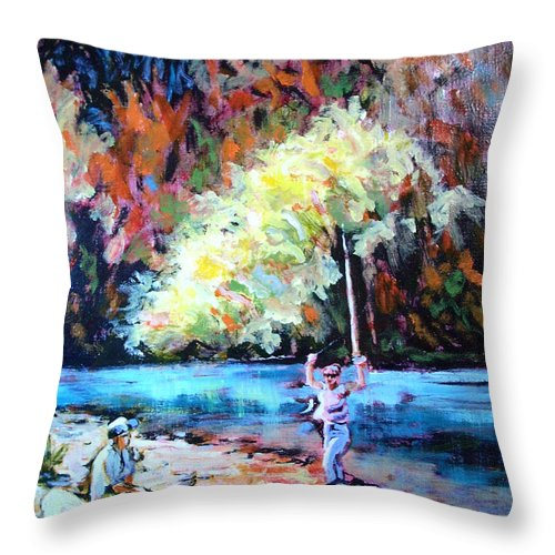Landscape Throw Pillow featuring the painting Fishing Painting Catch of the Day by Karla Beatty