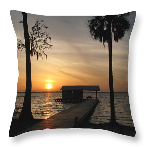 Landscape Throw Pillow featuring the photograph Fishing Pier At Dusk by Peg Urban
