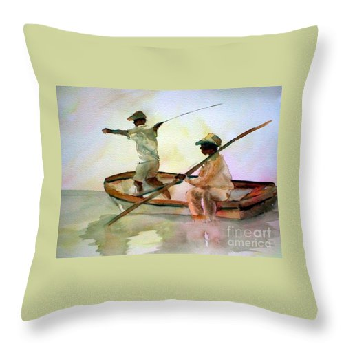 Fishing Throw Pillow featuring the painting Fishing by Rhonda Hancock