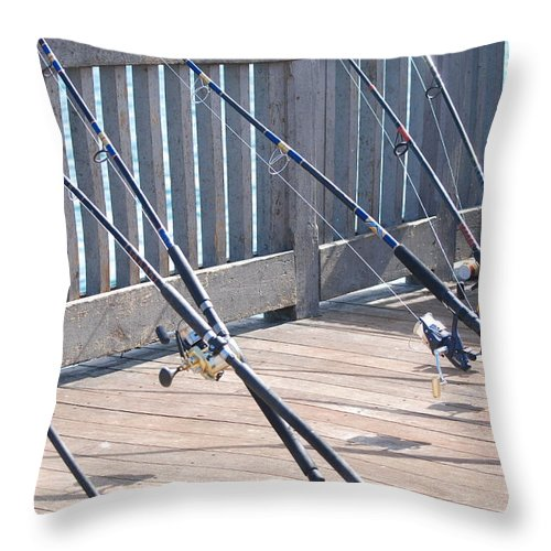 Pier Throw Pillow featuring the photograph Fishing Rods by Rob Hans