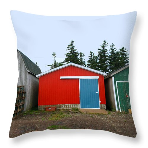 Fishing Throw Pillow featuring the photograph Fishing Shacks Prince Edward Island Canada by Thomas Marchessault