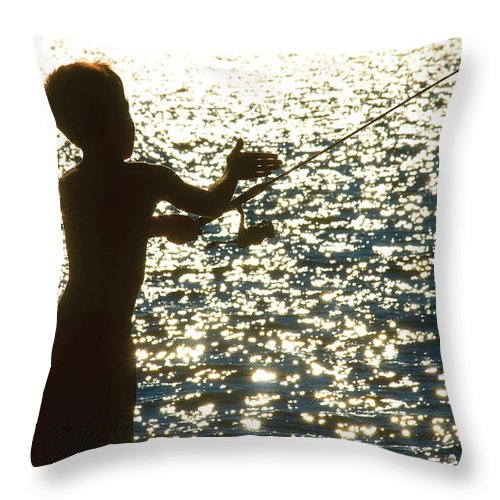 Fishing Throw Pillow featuring the photograph Fishing Silhouette Youngster by Steve Somerville