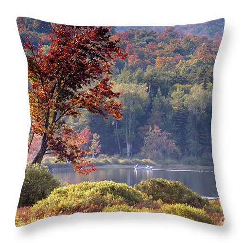 Adirondack Mountains Throw Pillow featuring the photograph Fishing The Adirondacks by David Lee Thompson