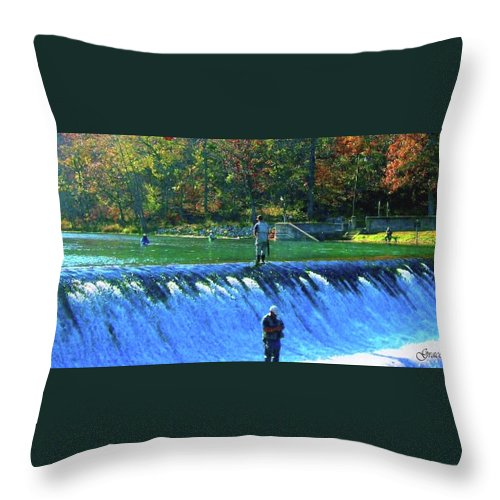 Park Throw Pillow featuring the photograph Fishing The Spillway 2 by Julie Grace