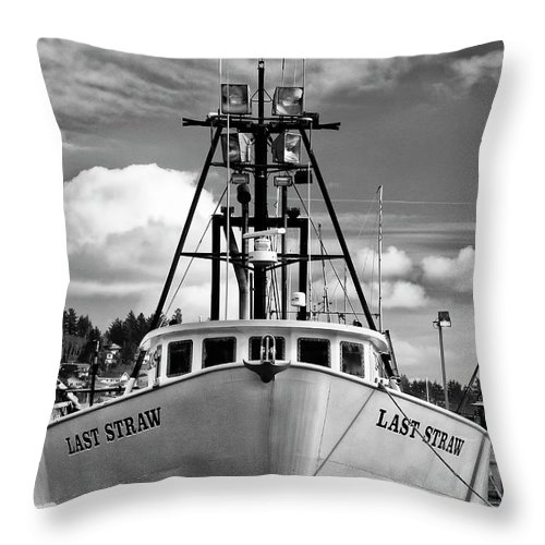 Last Straw Throw Pillow featuring the photograph Fishing Vessel Last Straw by Carol Leigh