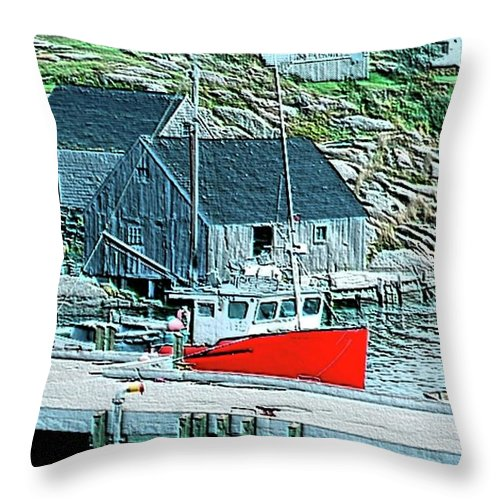 Red Throw Pillow featuring the photograph Fishing Village by Kathleen Struckle