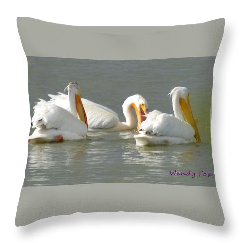 Pelicans Throw Pillow featuring the photograph Fishing by Wendy Fox