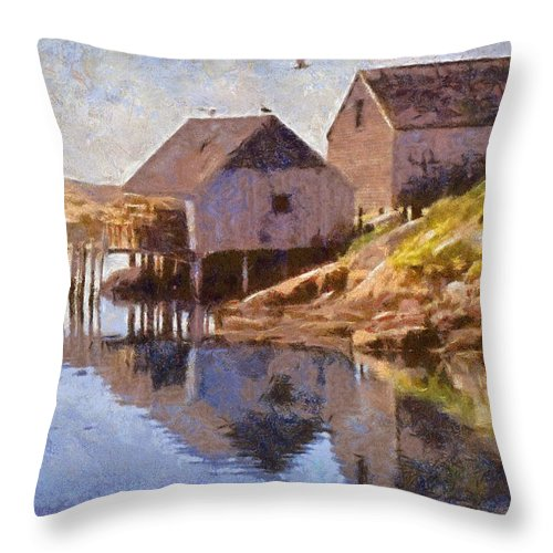 Canadian Throw Pillow featuring the painting Fishing Wharf by Jeffrey Kolker