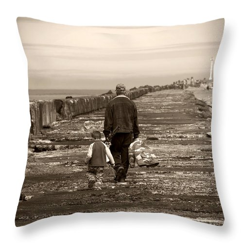Fishing Throw Pillow featuring the photograph Fishing With Grandpa by Jessica Wakefield