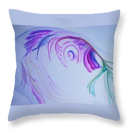 Abstract Painting Throw Pillow featuring the painting Fishy by Suzanne Udell Levinger