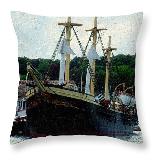 Antique Throw Pillow featuring the painting Fit And Trim by RC DeWinter