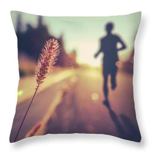 Heart Throw Pillow featuring the photograph Fitness Training For Marathon At Sunset by Mr Doomits