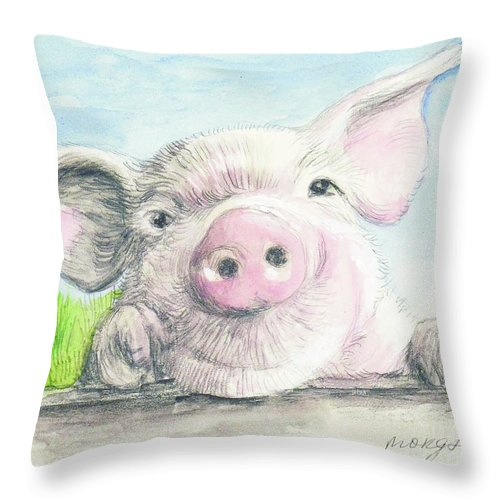 Animal Throw Pillow featuring the painting Farm Pig by Morgan Fitzsimons