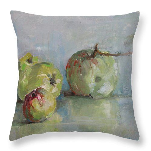Apples Throw Pillow featuring the painting Five Apples by Synnove Pettersen