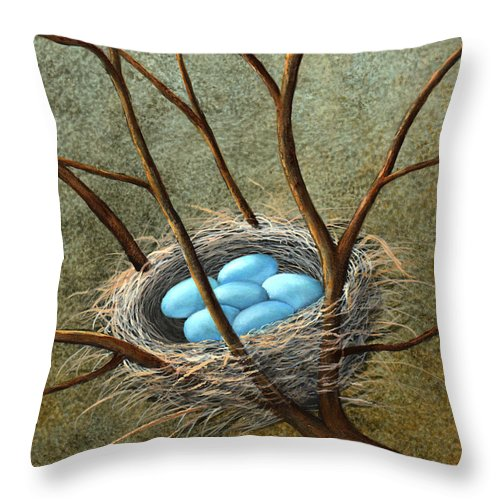 Birds Throw Pillow featuring the painting Five Blue Eggs by Frank Wilson