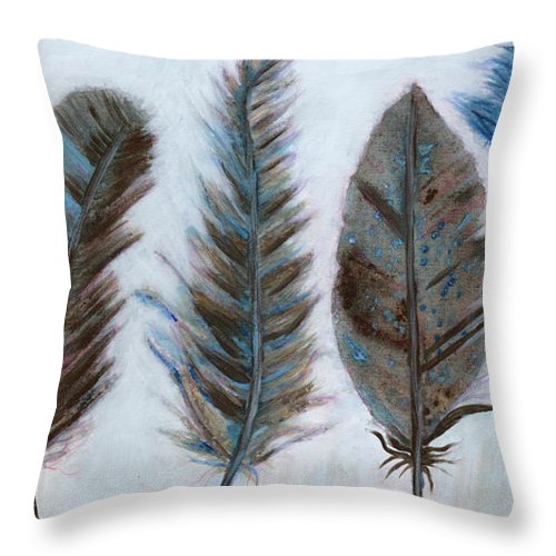 Blue And Brown Feathers Throw Pillow featuring the painting Five Feathers by Koni Webb Bosch