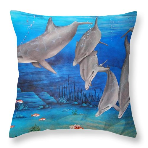 Dolphin Throw Pillow featuring the painting Five Friends by Cindy D Chinn
