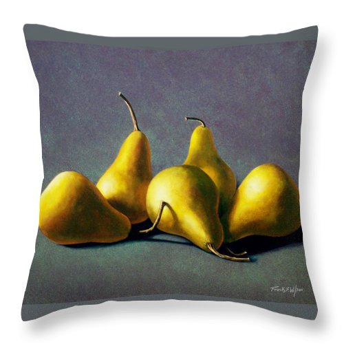 Still Life Throw Pillow featuring the painting Five Golden Pears by Frank Wilson