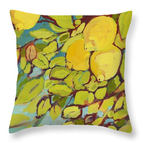 Lemon Throw Pillow featuring the painting Five Lemons by Jennifer Lommers