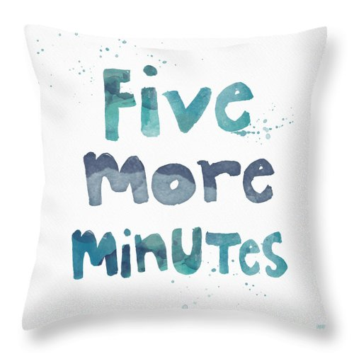 Sleep Throw Pillow featuring the painting Five More Minutes by Linda Woods