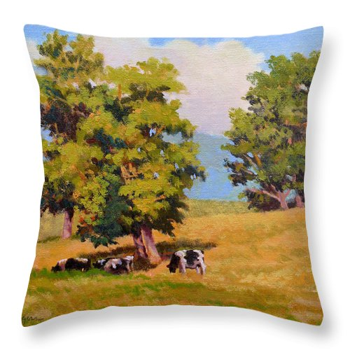 Landscape Throw Pillow featuring the painting Five Oaks by Keith Burgess