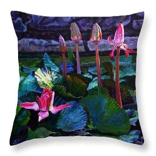 Water Lilies Throw Pillow featuring the painting Five Stages To Beauty by John Lautermilch