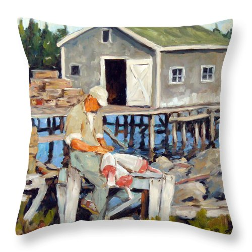 Fishing Boats Throw Pillow featuring the painting Fixing Floats by Richard T Pranke