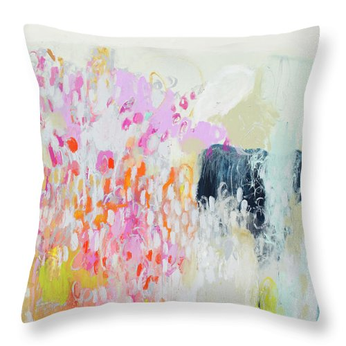 Abstract Throw Pillow featuring the painting Fizz by Claire Desjardins