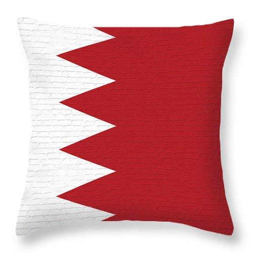 Flag Of Bahrain Throw Pillow featuring the digital art Flag Of Bahrain Wall. by Roy Pedersen