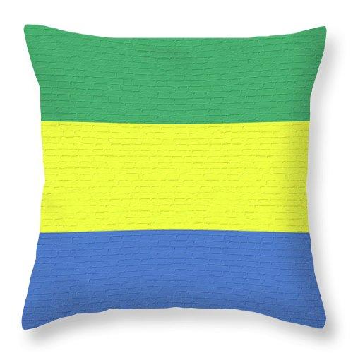 Africa Throw Pillow featuring the digital art Flag Of Gabon Wall. by Roy Pedersen