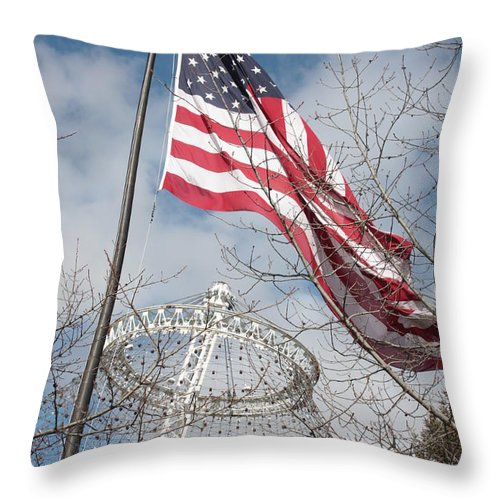 American Flag Throw Pillow featuring the photograph Flag Over Spokane Pavilion by Carol Groenen